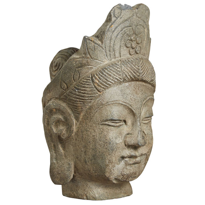 Carved Stone Buddha Head with Crown