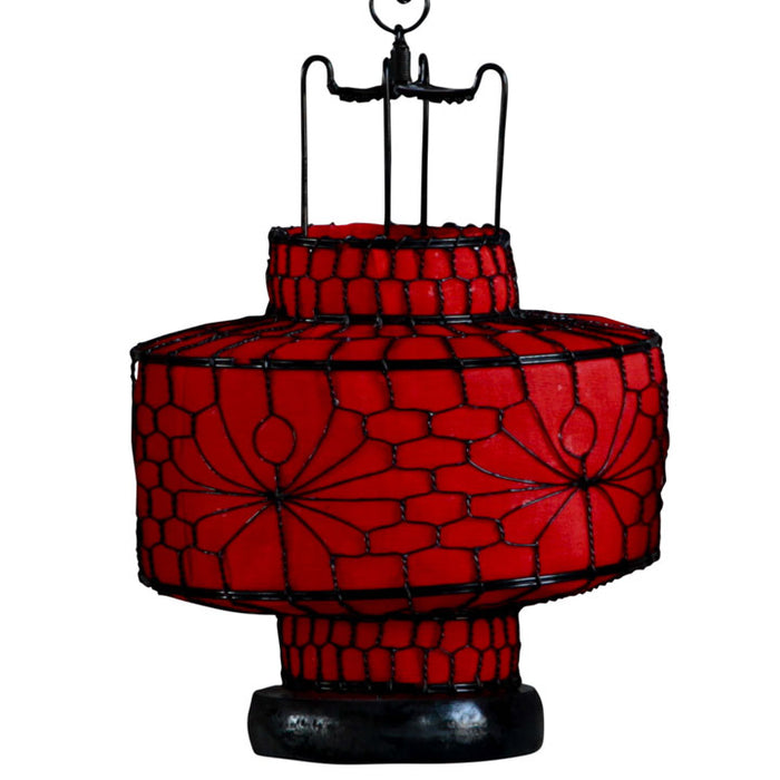Wire and Canvas Lantern - Red Circular