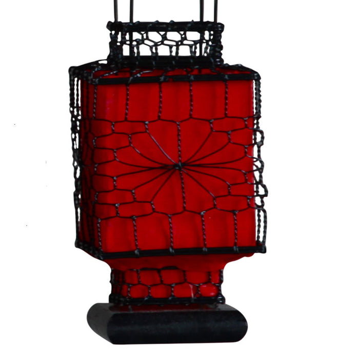Wire and Canvas Lantern - Red Square