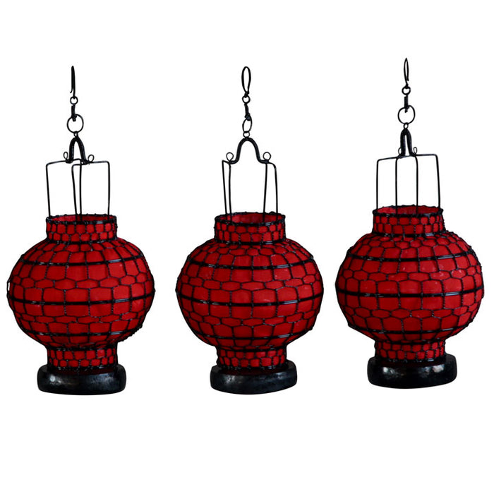 Wire and Canvas Lantern - Red Ball