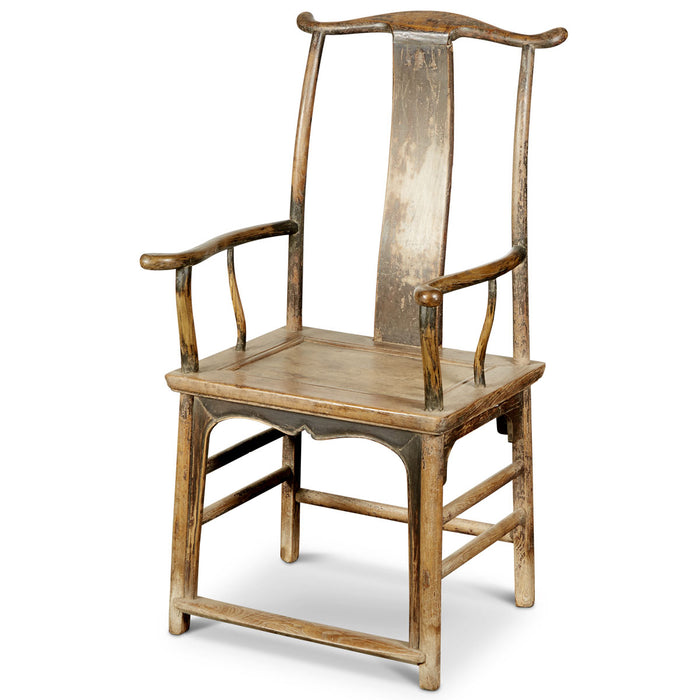 Chinese Antique Elm Yoke-Back Armchair