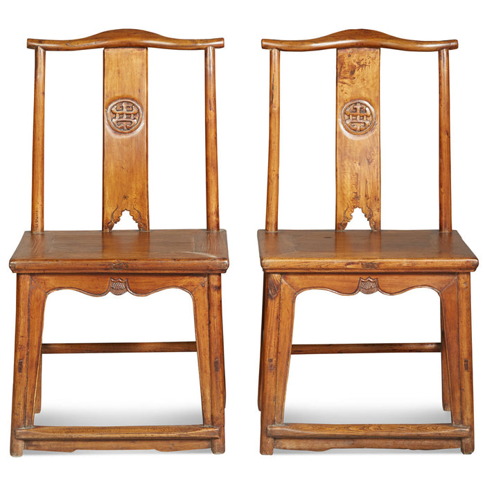 Pair of Antique Yoke Back Side Chairs
