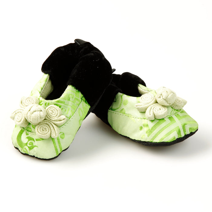 Silk Baby Shoes, Green