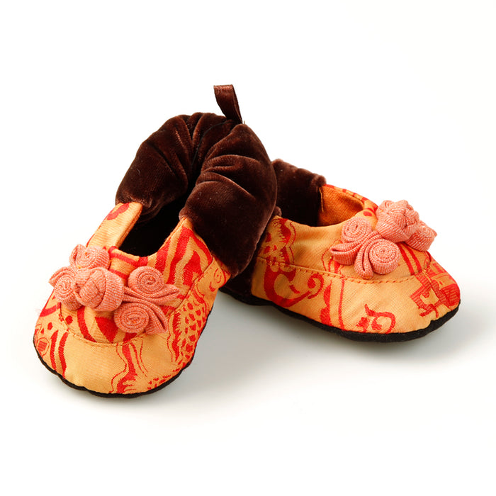Silk Baby Shoes, Orange