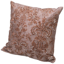 Beaded Cushion, Brown