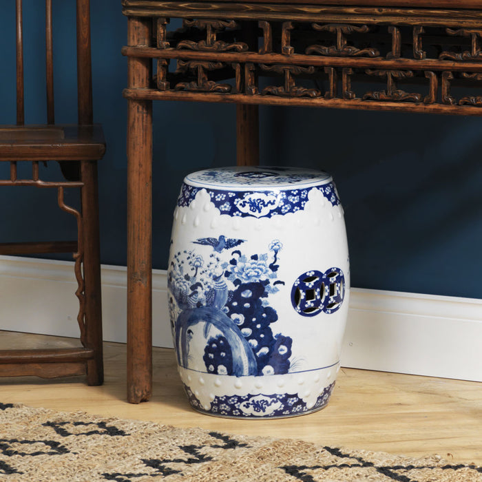 Blue and white Chinese barrel stool