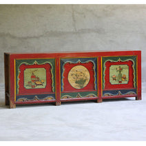 Qinghai Sideboard in Red, Green and Blue