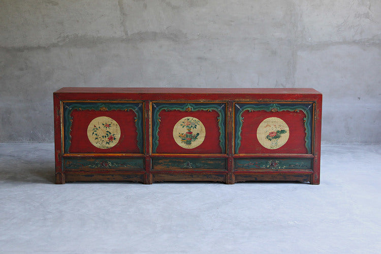 Large Qinghai Painted Pine Sideboard