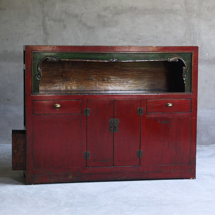 Red Lacquer Large Display Cabinet