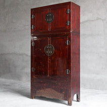 Red Lacquer Armoire with Separate Trunk