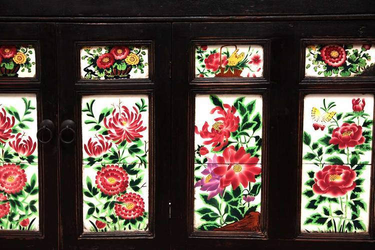Antique Buffet with Floral Tiles