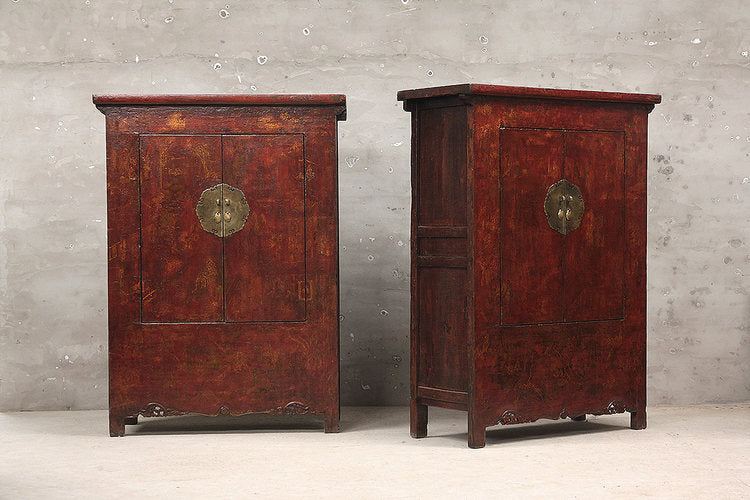 Pair of Qinghai Armoires with Old Paintings