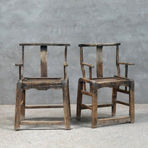 Pair of Rustic Elm Armchairs