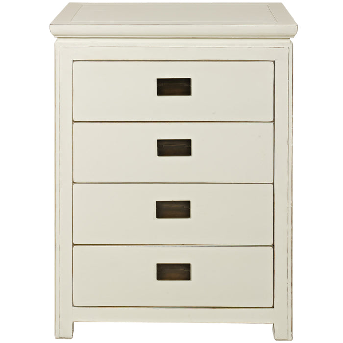 White Lacquer Four Drawer Chest