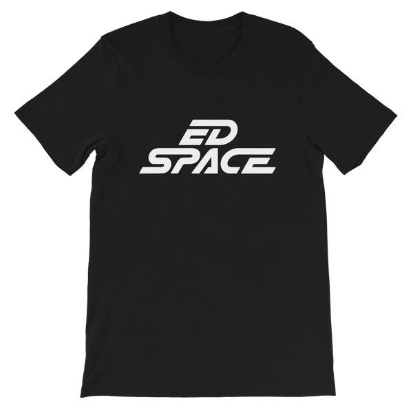 Unisex Black T-Shirt with White ED SPACE Logo Main Product Front Image