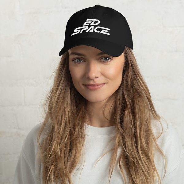 Unisex Black Dad Hat with White Embroidery Female Model Lifestyle image