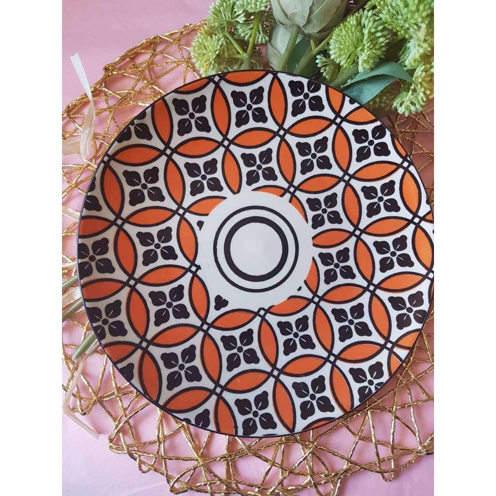 Ceramic Lamp Plate Orange Floral - Why So Salty