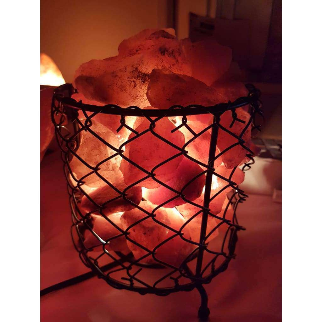 Industrial Look Fire Cage Salt Lamp - Why So Salty
