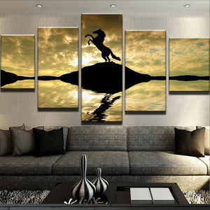 Horse Silhouette 5 Piece Canvas Set - newdaystock