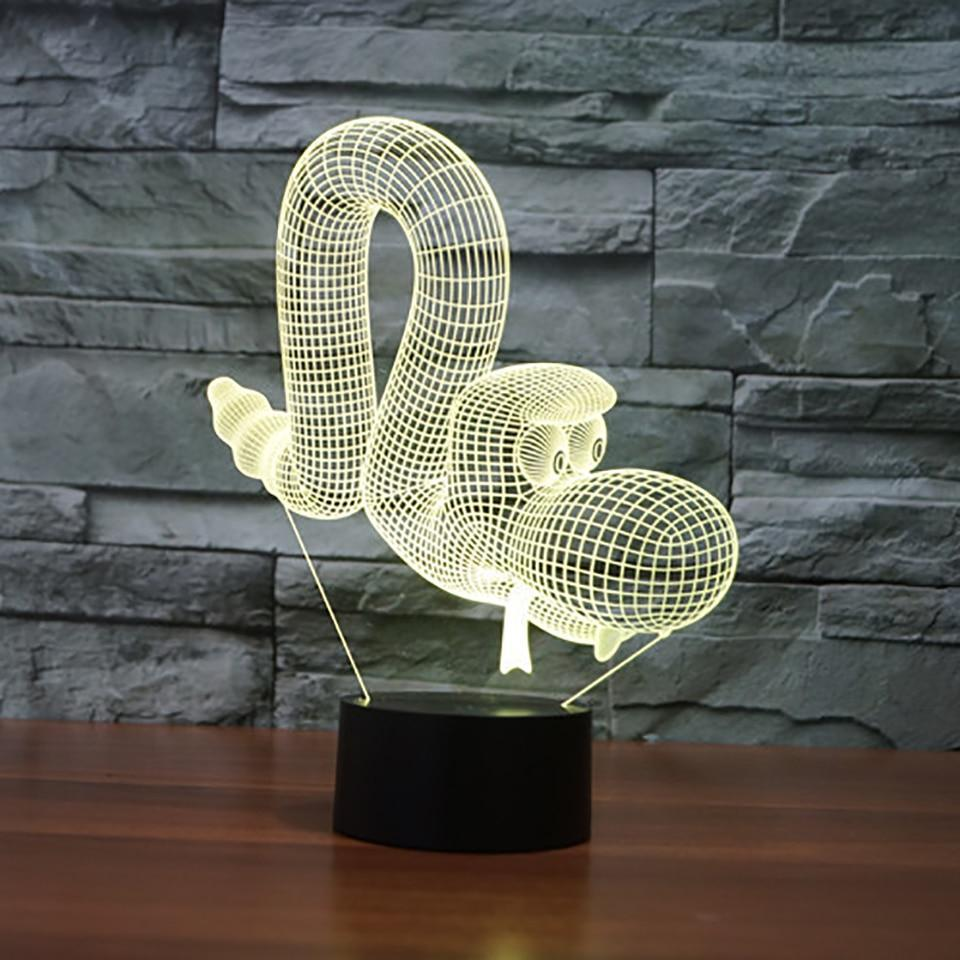 New Day Stock 3D Lamp Animal Snake 3D Led Lamp