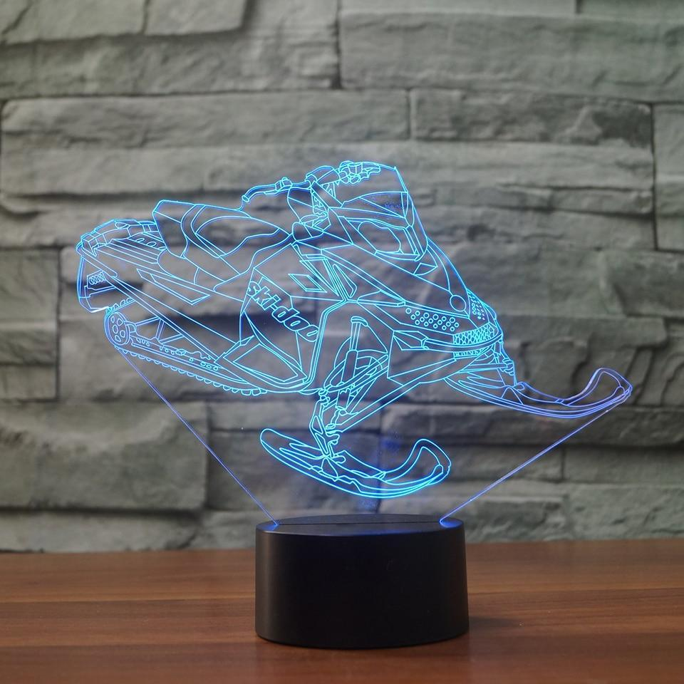 New Day Stock 3D Lamp Atmosphere Snowmobile Car 3D Led Lamp