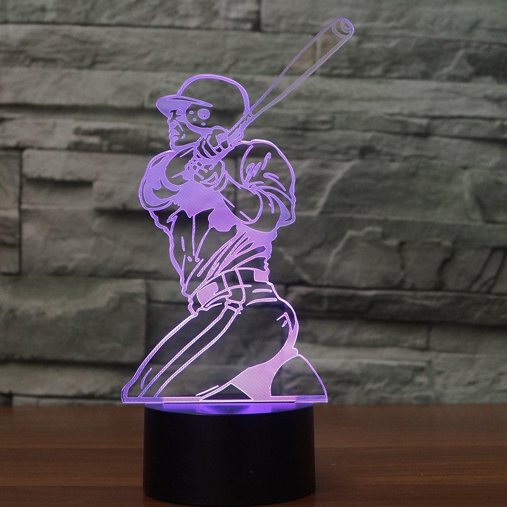 New Day Stock 3D Lamp Baseball Player 3D Led Lamp