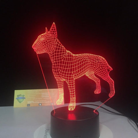 New Day Stock 3D Lamp Bull Terrier Dog 3D Led Lamp