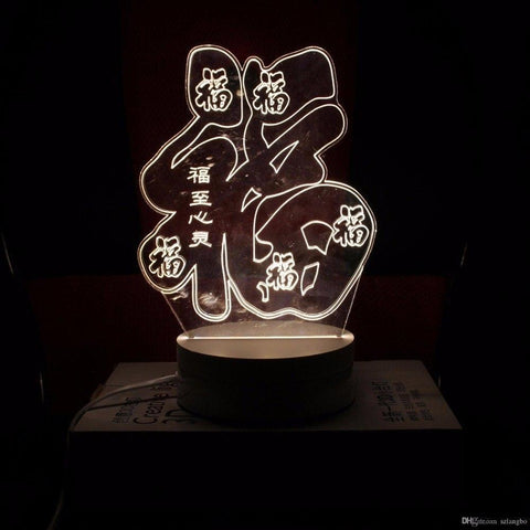 New Day Stock 3D Lamp Chinese Fu Words Shape 3D Led Lamp