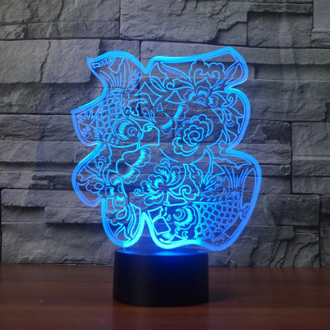 Image of Chinese Paper-Cut Fu Words 3D Led Lamp