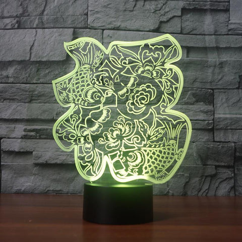 Image of New Day Stock 3D Lamp Chinese Paper-Cut Fu Words 3D Led Lamp