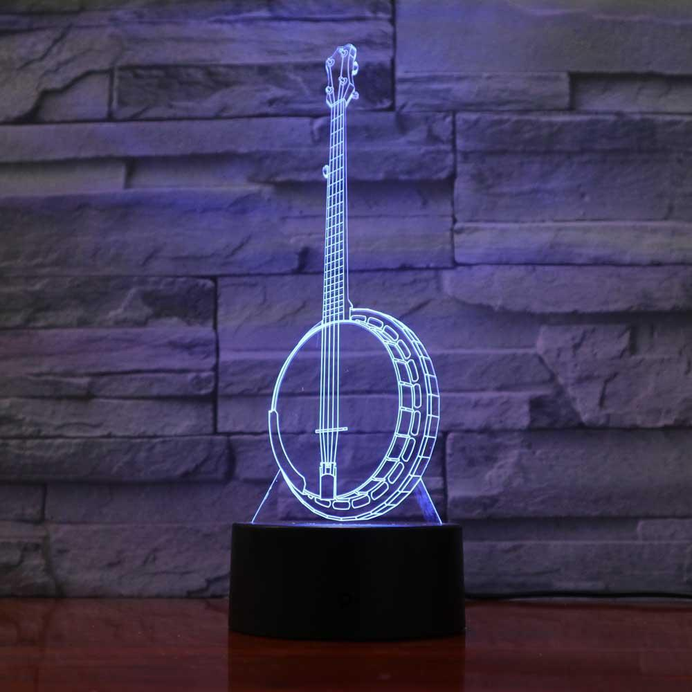 New Day Stock 3D Lamp Creative Banjo 3D Led Lamp