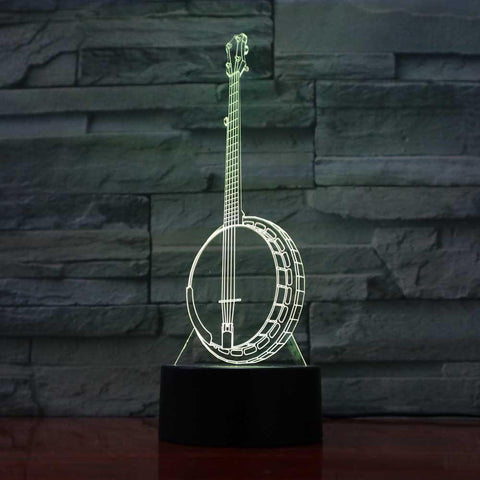 Image of New Day Stock 3D Lamp Creative Banjo 3D Led Lamp