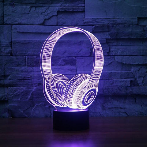 New Day Stock 3D Lamp DJ Headphone 3D Led Lamp