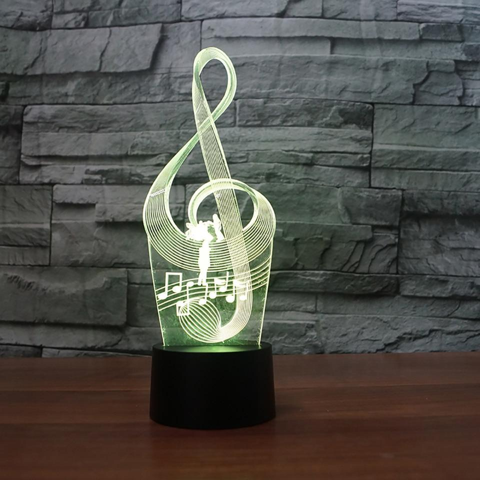 New Day Stock 3D Lamp Fashion USB Art Music Notation 3D Led Lamp