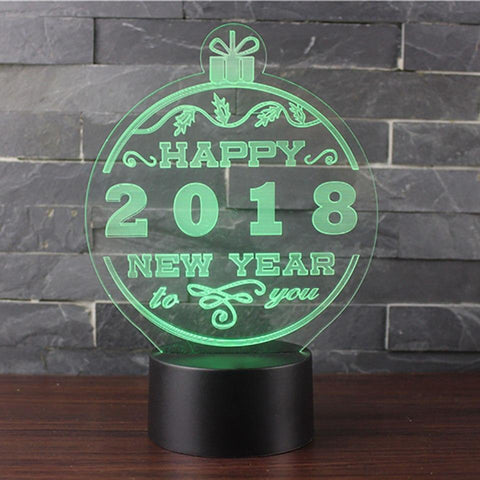 New Day Stock 3D Lamp Happy New Year 2018 3D Led Lamp