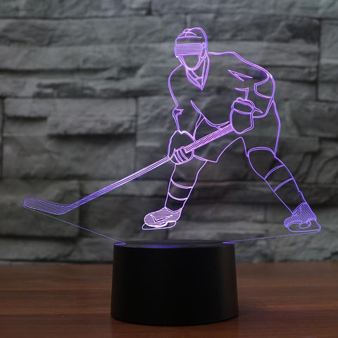 New Day Stock 3D Lamp Hockey Player Shape 3D Led Lamp