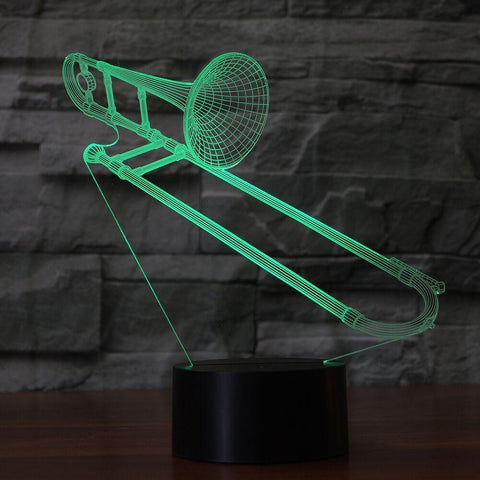 New Day Stock 3D Lamp Trombone Shape 3D Led Lamp