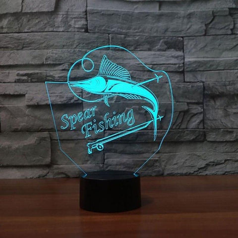 Image of Acrylic Spear Fishing 3D Led Lamp