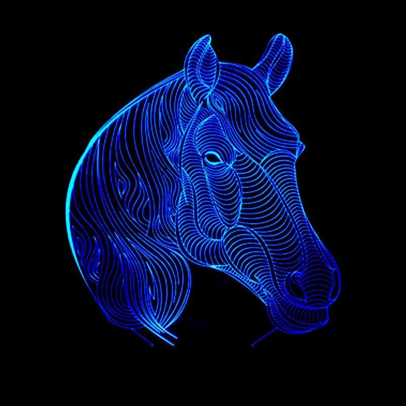 New Day Stock 3D Led Lamp Animal Horse Head 3D Led Lamp