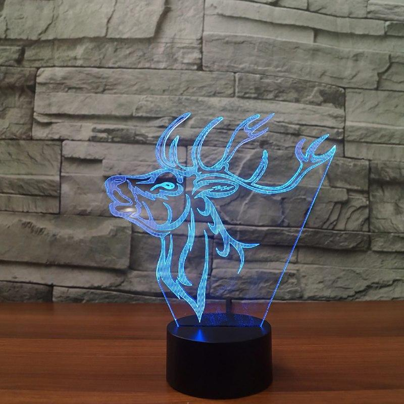 New Day Stock 3D Led Lamp Atmosphere Deer Elk 3D Led Lamp