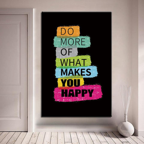 Image of New Day Stock Canvas Paintings Medium / Black / No Frame Do More Of What Makes You Happy