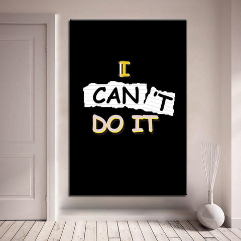 Image of New Day Stock Canvas Paintings Medium / Black / No Frame I Can Do It 2