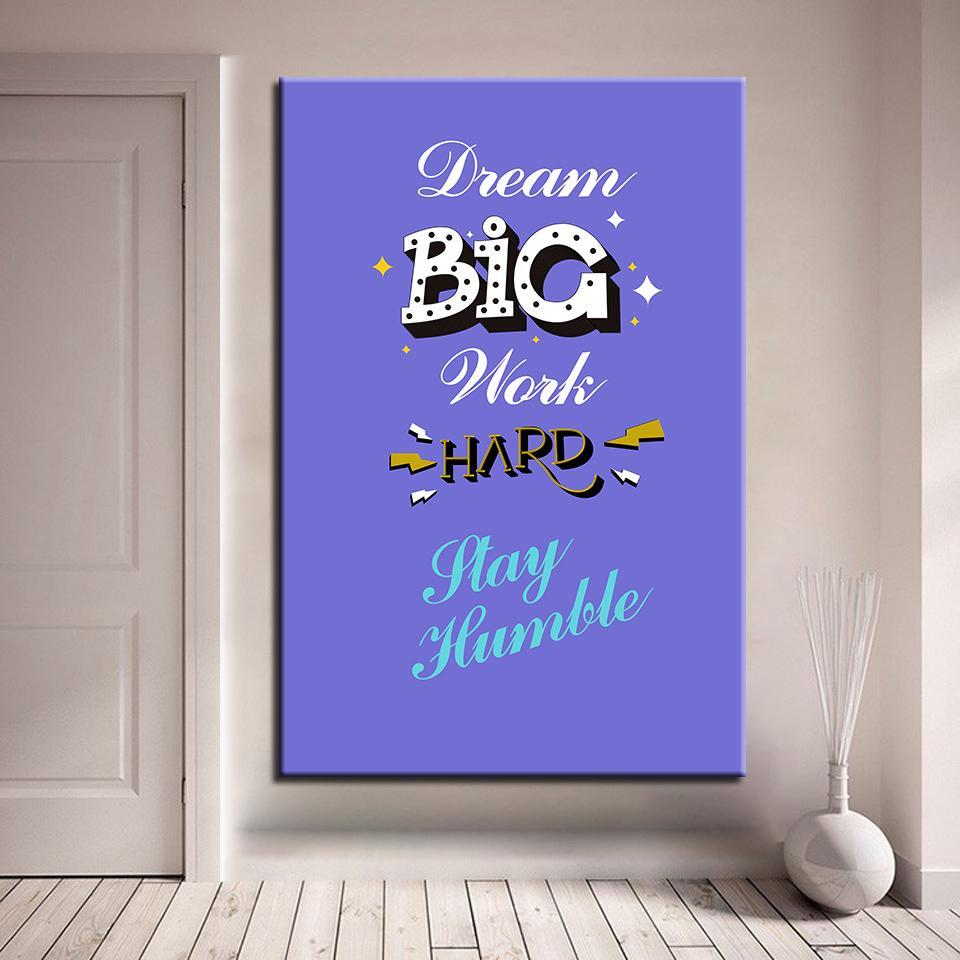 New Day Stock Canvas Paintings Medium / Blue / No Frame Dream Big Work Hard Stay Humble