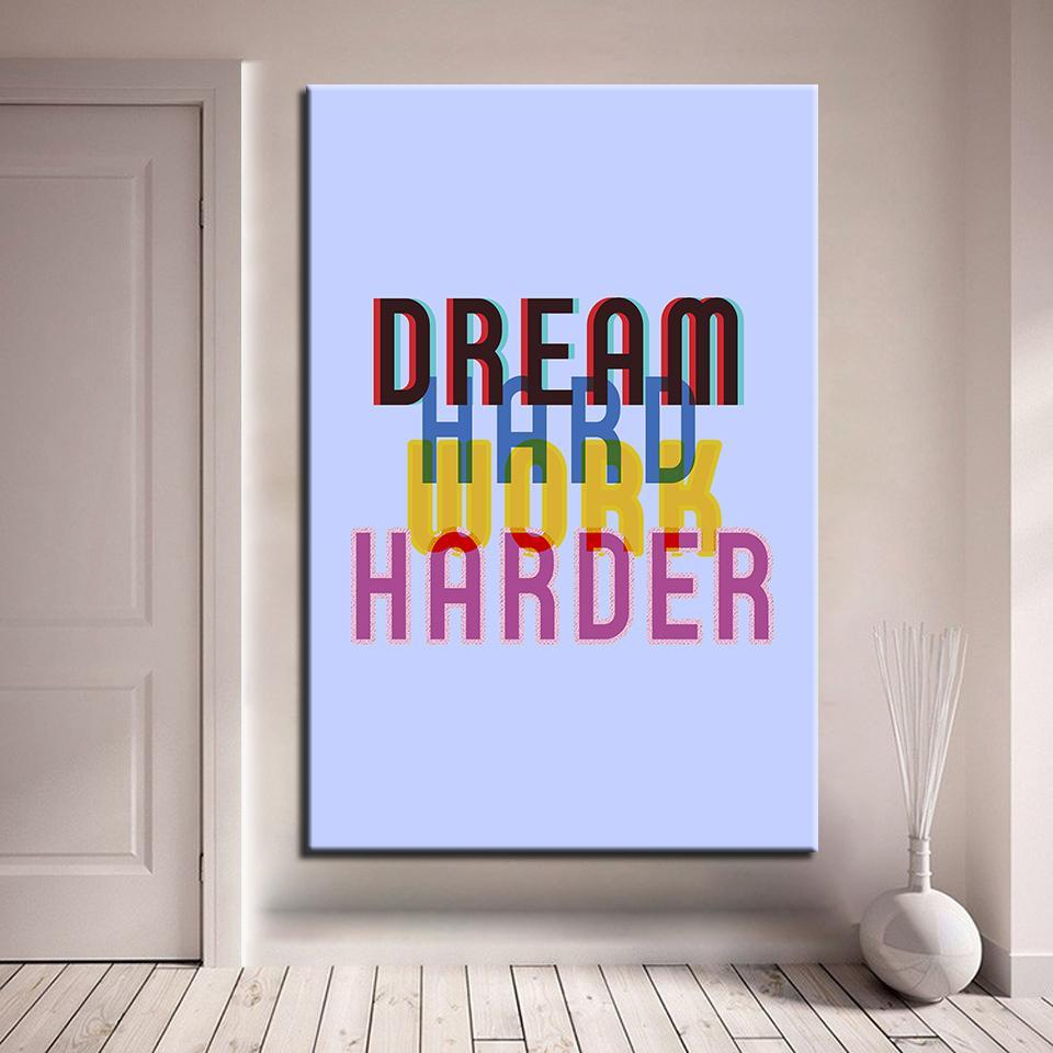 New Day Stock Canvas Paintings Medium / Blue / No Frame Dream Hard. Work Harder