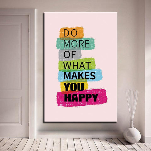Image of New Day Stock Canvas Paintings Medium / Brown / No Frame Do More Of What Makes You Happy