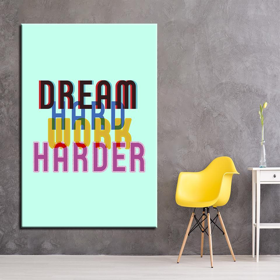 New Day Stock Canvas Paintings Medium / Green / No Frame Dream Hard. Work Harder