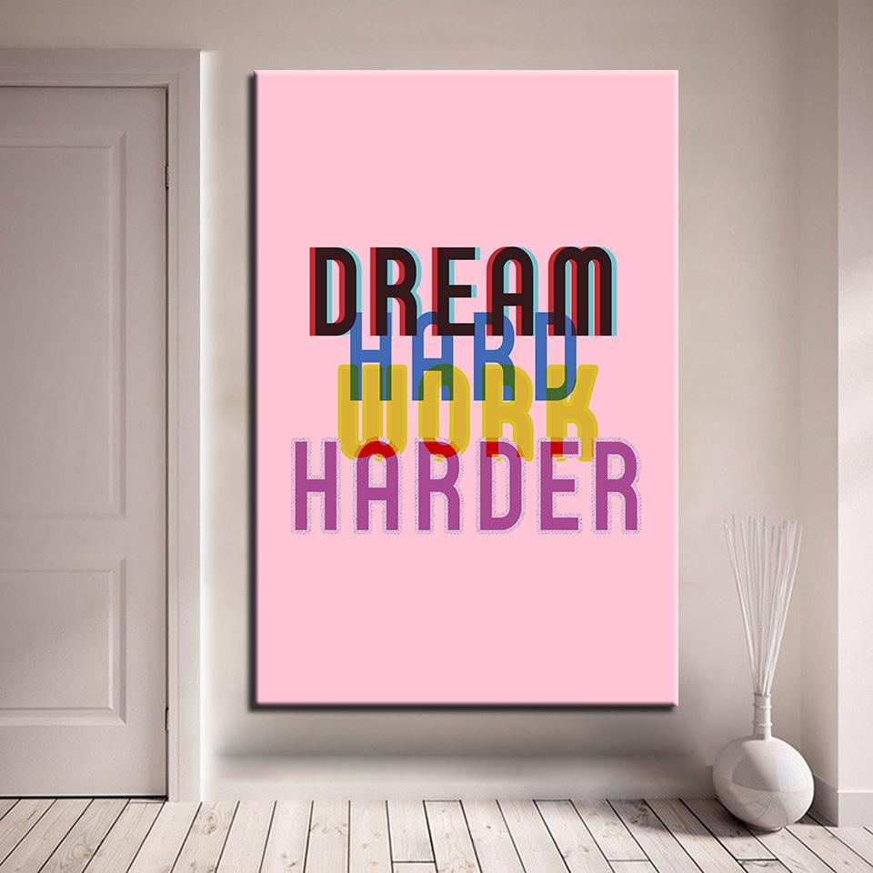 New Day Stock Canvas Paintings Medium / Red / No Frame Dream Hard. Work Harder