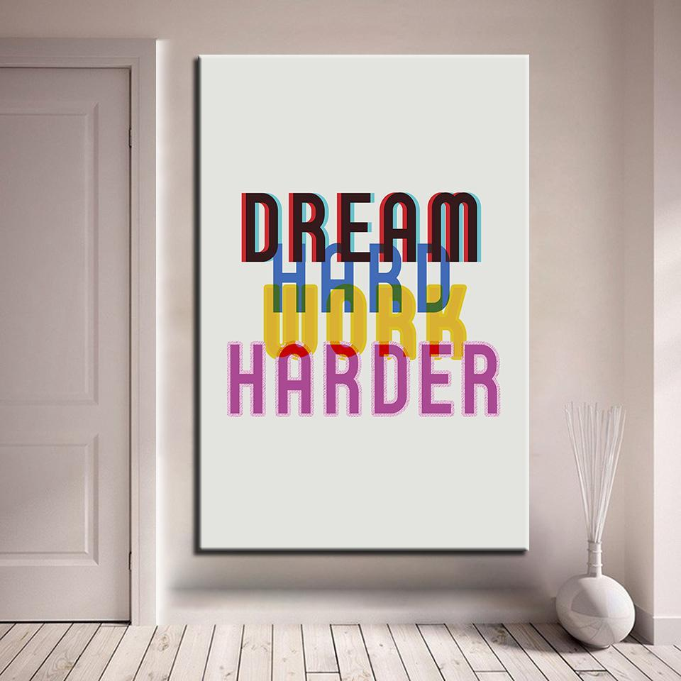 New Day Stock Canvas Paintings Medium / White / No Frame Dream Hard. Work Harder