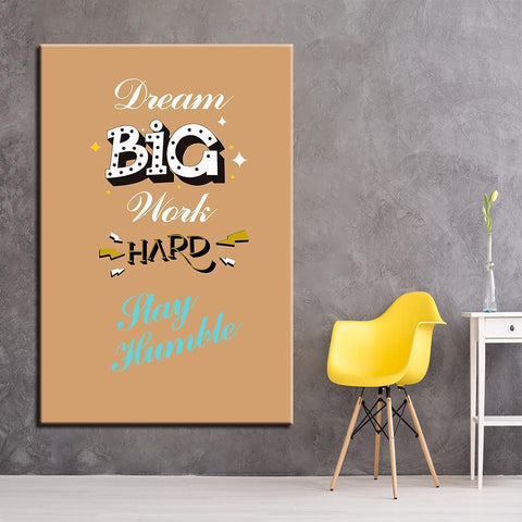 Image of New Day Stock Canvas Paintings Medium / Yellow / No Frame Dream Big Work Hard Stay Humble