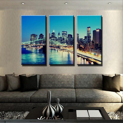 Image of New Day Stock Medium / 3 Pieces / Framed Brooklyn Bridge Multi Panel Canvas Set